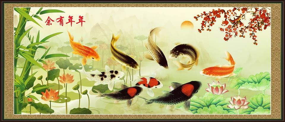 Tranh phong thủy cá chép ao sen