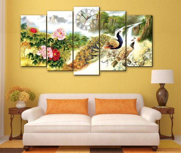 Tranh Canvas hoa mẫu đơn và chim công