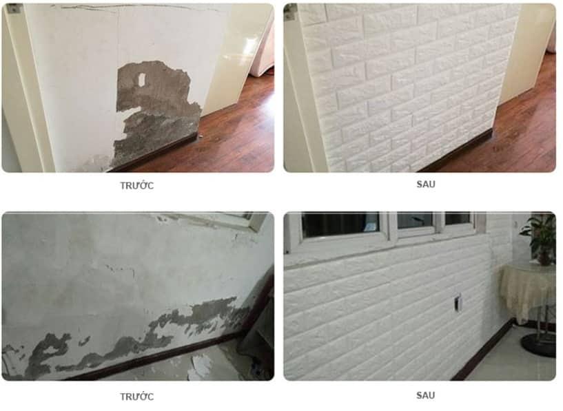 Xốp dán tường giúp che lấp khuyết điểm tường nhà tốt