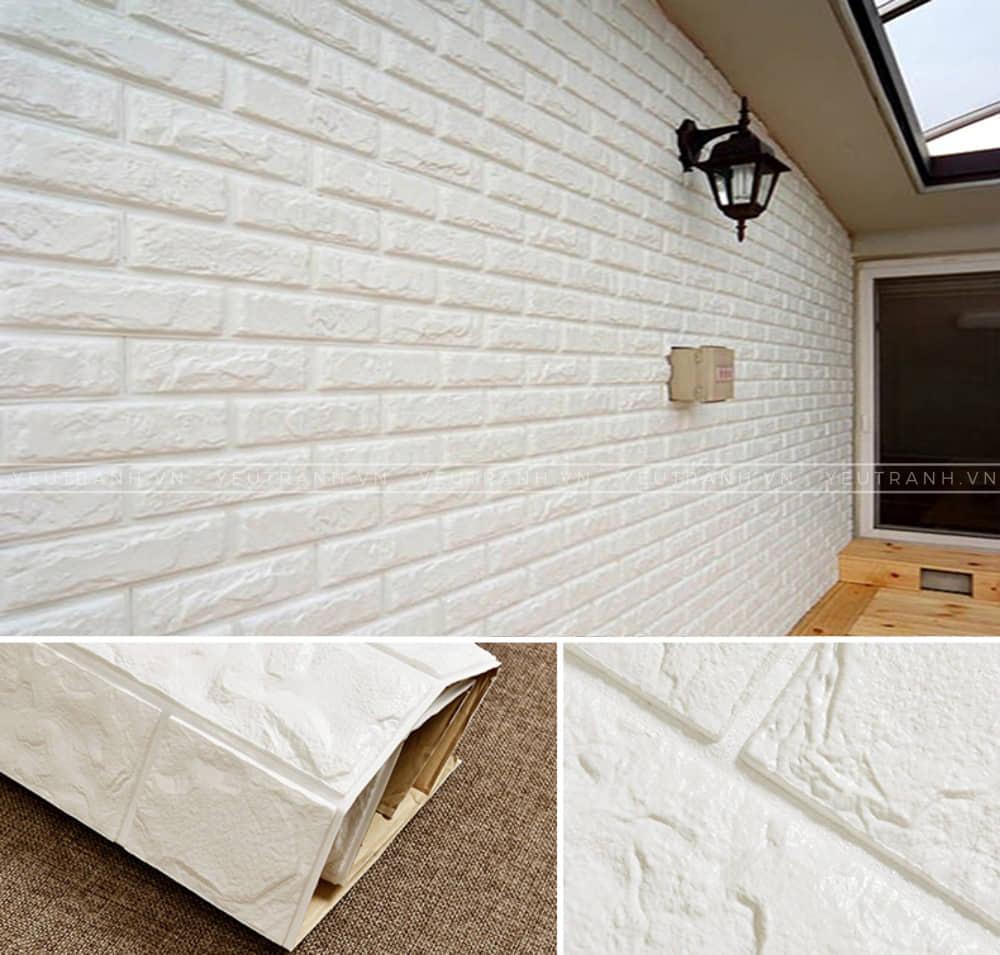 Bề mặt ngoài bằng lớp PE của xốp dán tường có khả năng kháng nước rất tốt