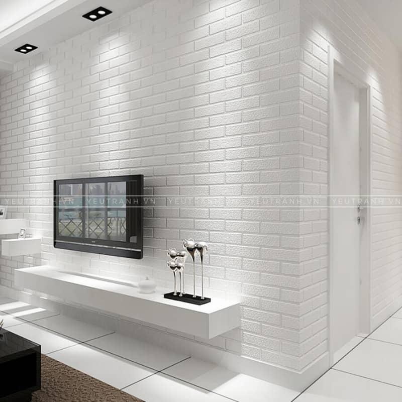 Xốp dán tường- vật liệu trang trí phòng khách căn hộ chung cư