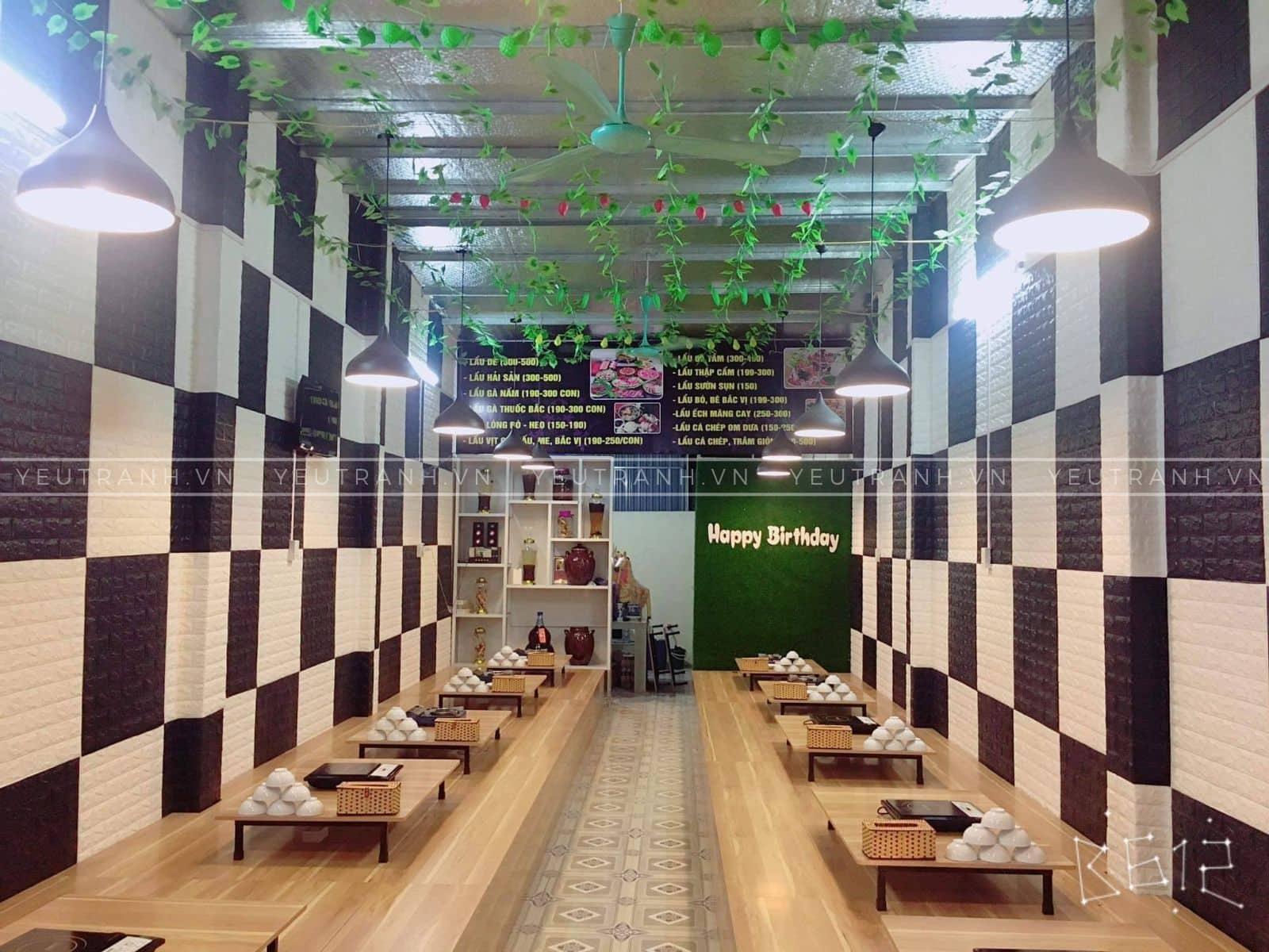 Ứng dụng trang trí tường quán ăn bằng xốp dán tường 3d