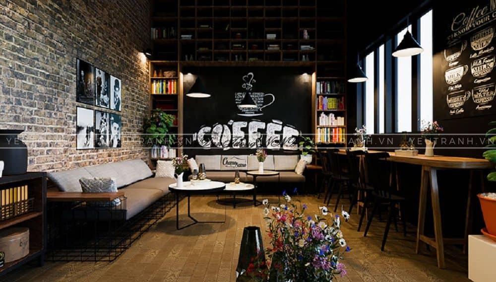 Trang trí quán cafe bằng xốp dán tường 3d giả gạch